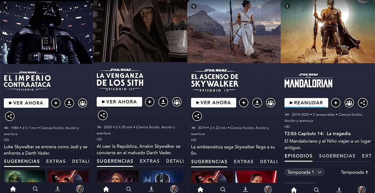 Disney Plus la app con todas las pelis y series de la saga