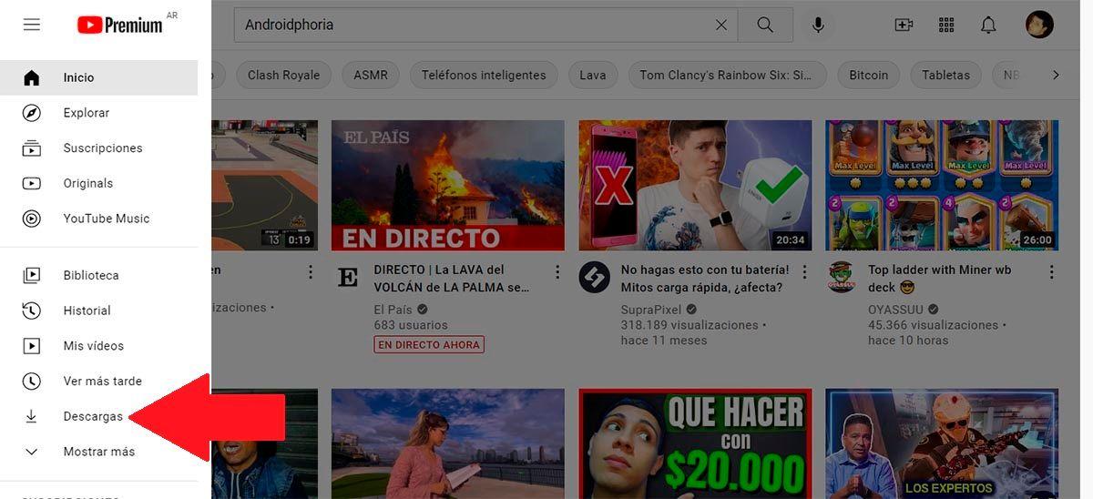 Donde estan los videos descargados en YouTube PC