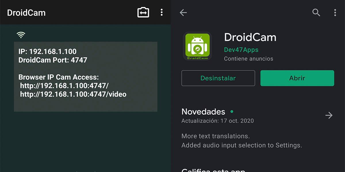 Droidcam apps para tu móvil