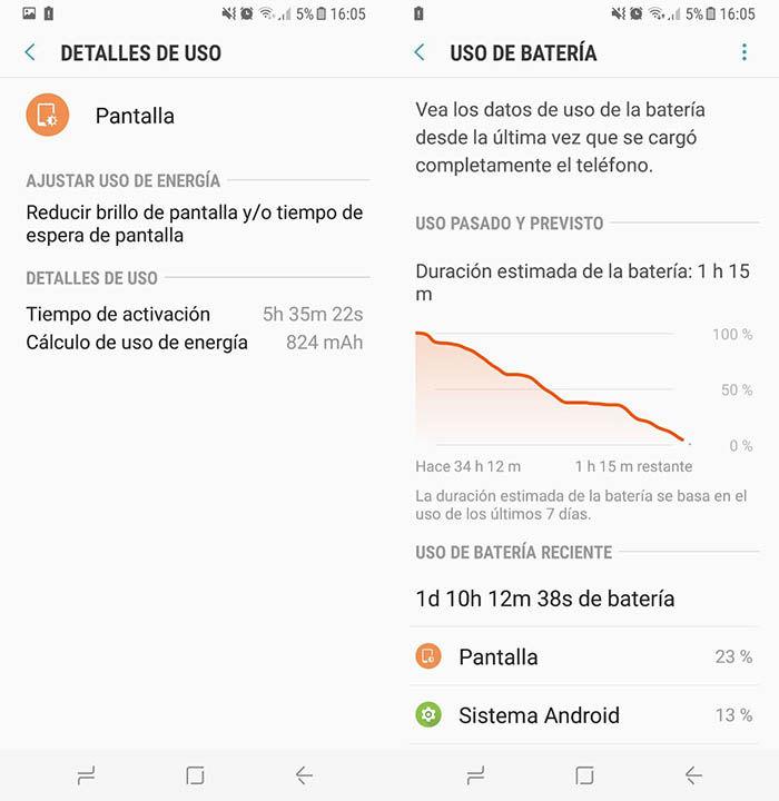 Duracion bateria Galaxy S8 2 dias
