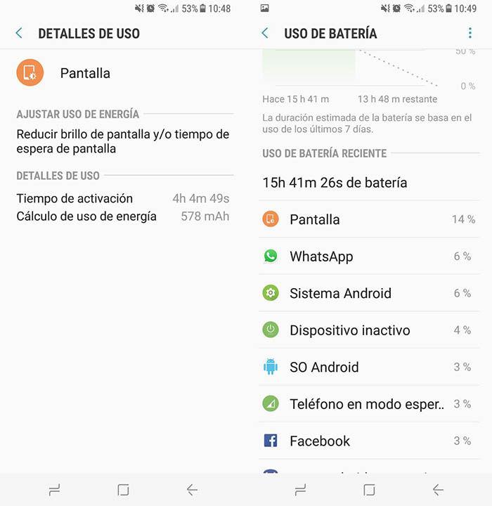 Duracion bateria Galaxy S8 Media carga
