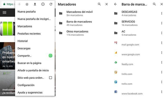 Editar marcadores Chrome Android
