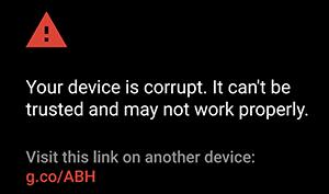 El dispositivo está dañado, no se considera de confianza y es posible que no funcione correctamente