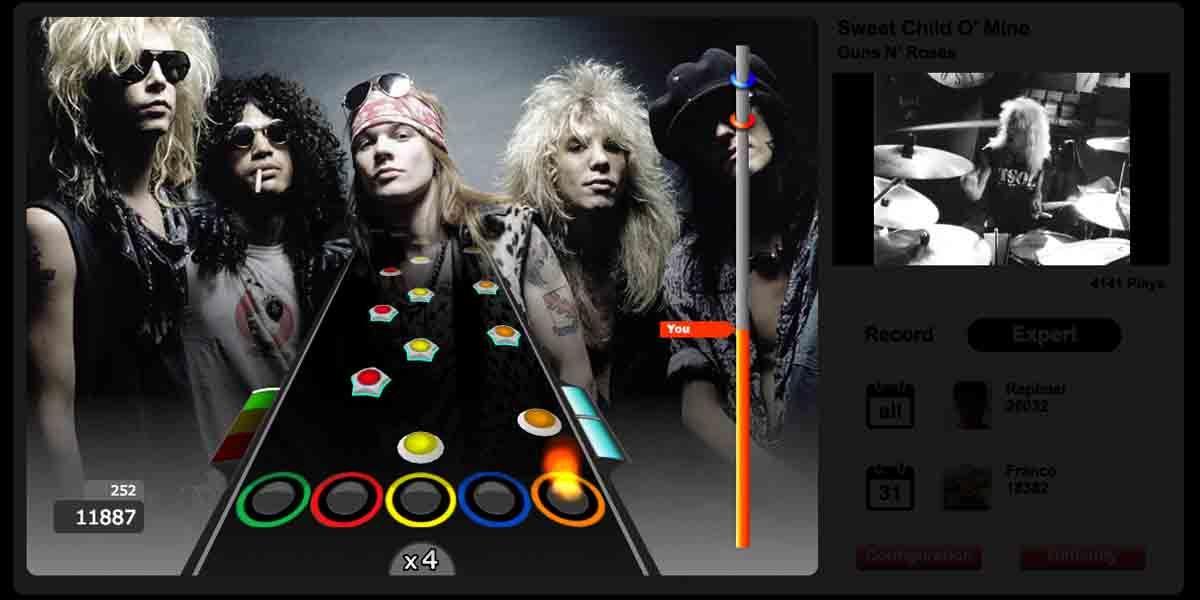 El juego más parecido a Guitar Hero, Guitar Flash