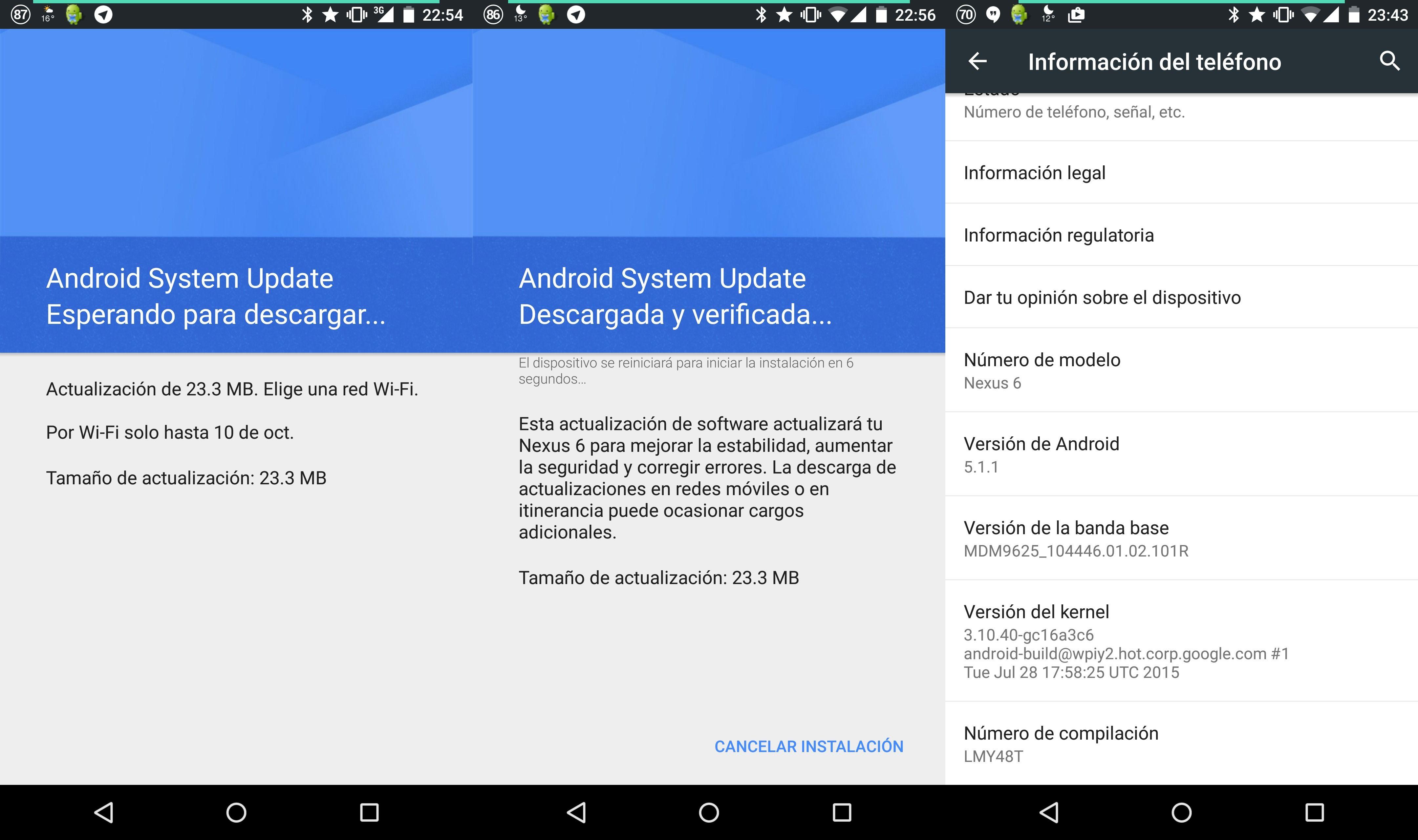 El parche de seguridad de octubre llega a Nexus 6 en España