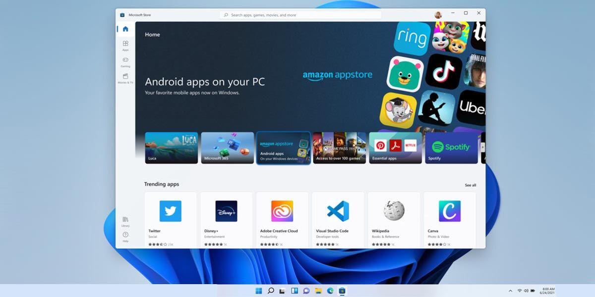 El soporte de apps e Android con AMazon Appstore aún tardará un año en llegar a Windows 11