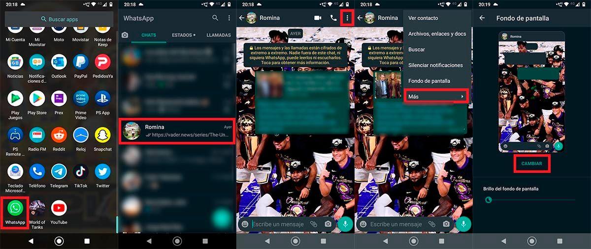 Elegir el fondo de pantalla personalizado WhatsApp