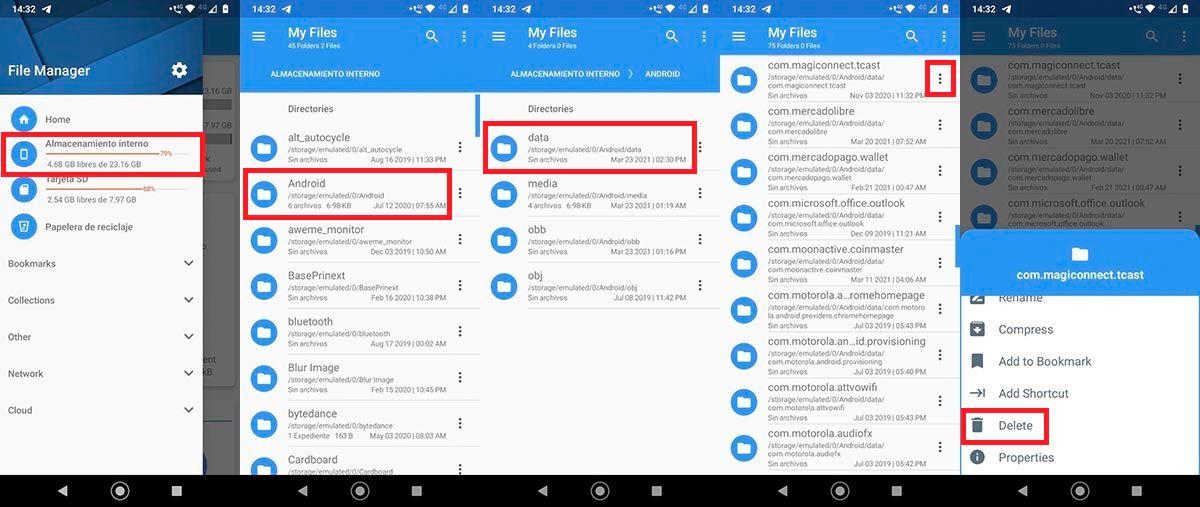 Eliminar archivo basura app Android