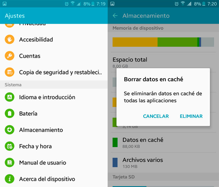 Eliminar cache Android