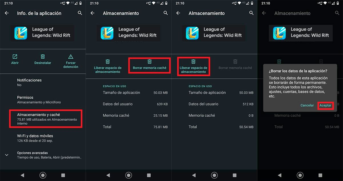 Eliminar cache League of Legends Wild Rift Android