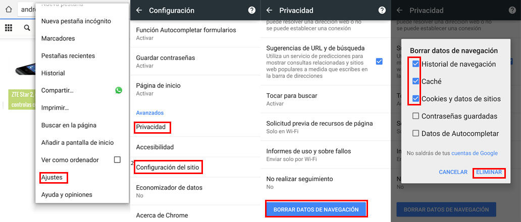 Eliminar cache, historial y cookies Chrome Android