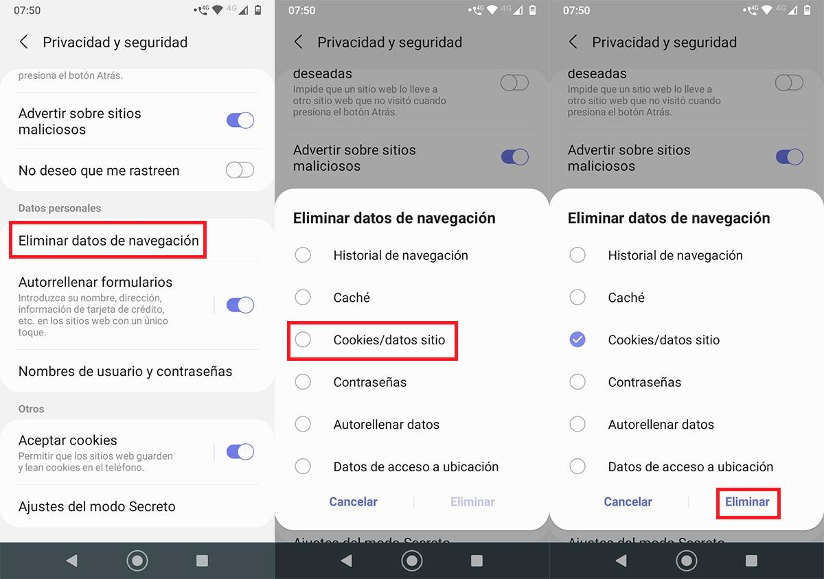 Eliminar cookies Samsung Browser Android