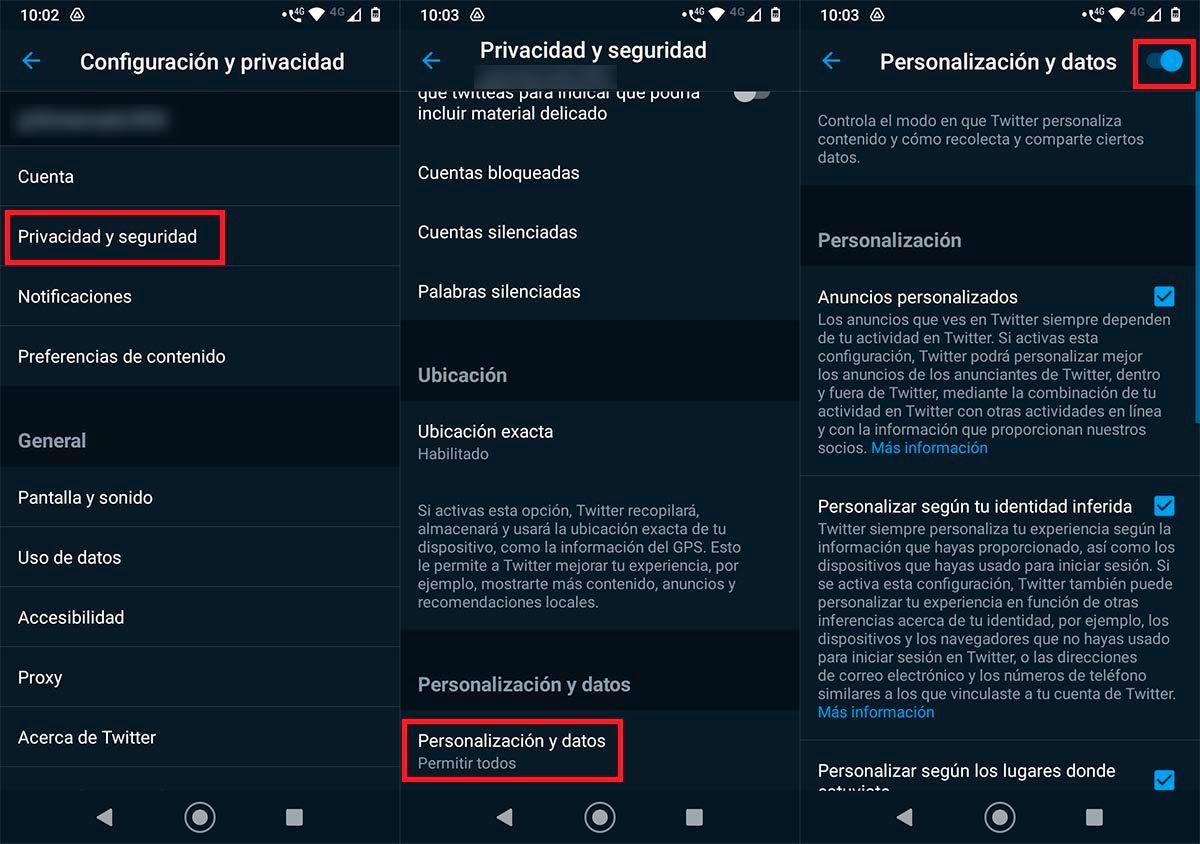 Eliminar datos de navegacion Twitter Android