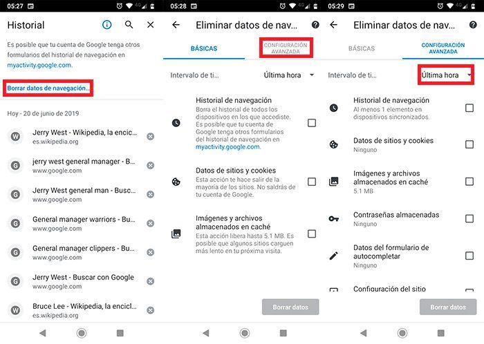 Eliminar historial Chrome en Android 2