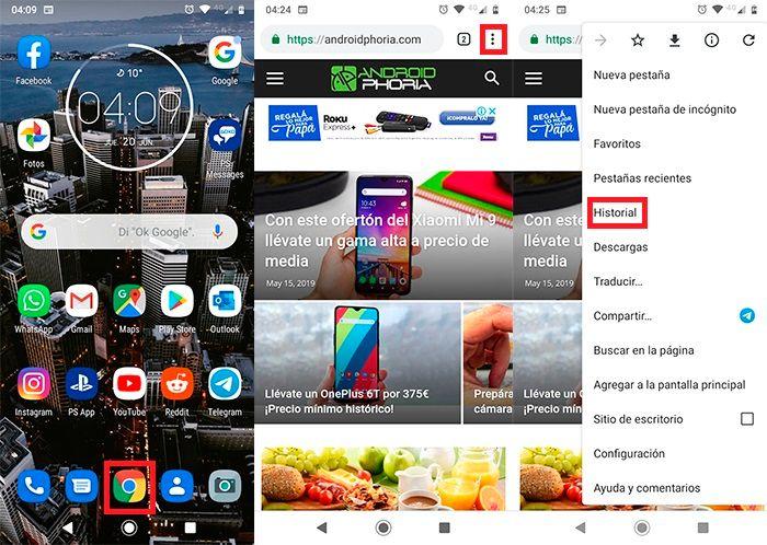 Eliminar historial Chrome en Android