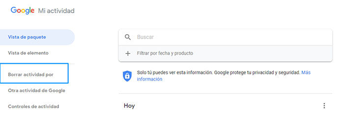 Eliminar historial de busqueda de Google