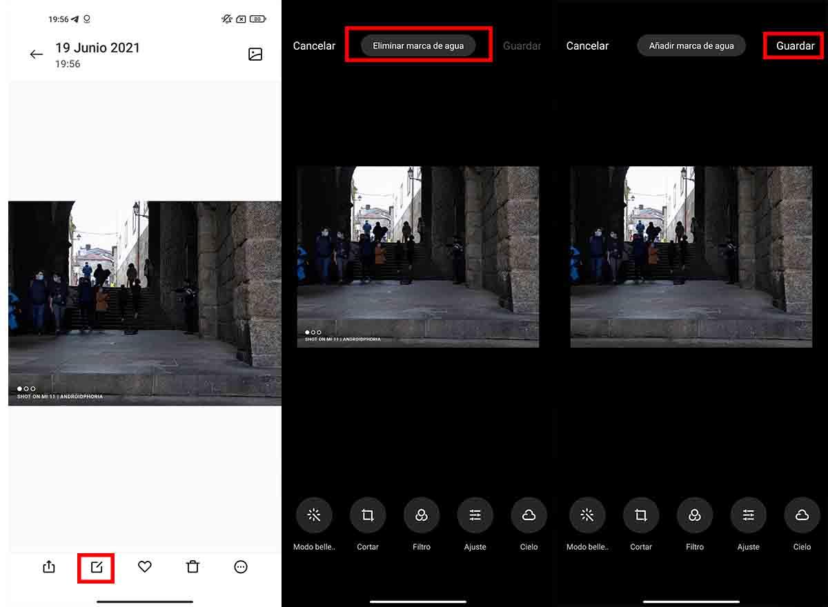 Eliminar marca de agua fotos Xiaomi