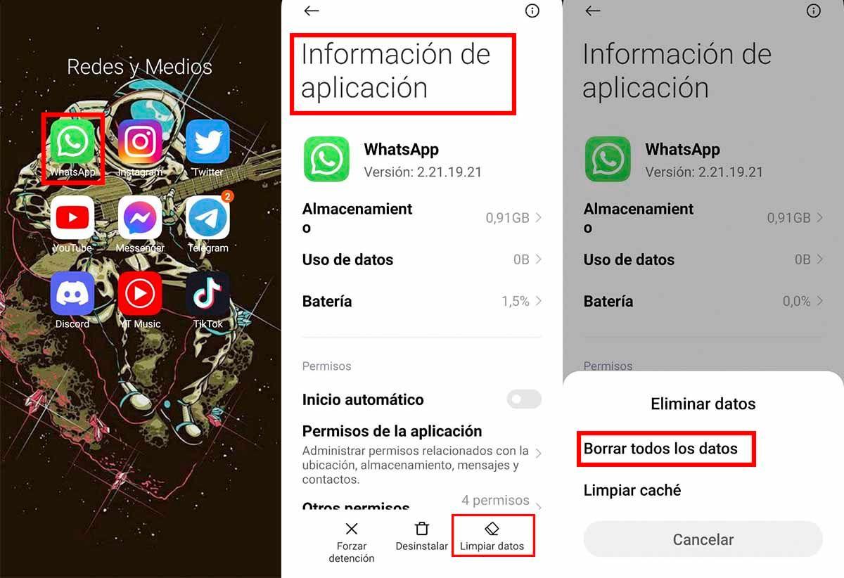 Eliminar memoria caché WhatsApp