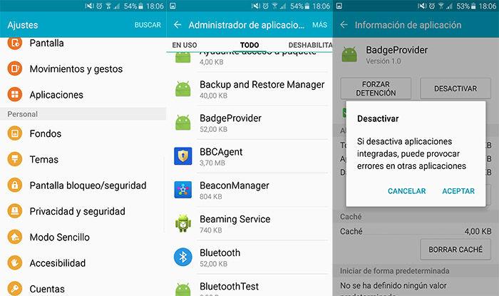 Eliminar notificaciones iconos Samsung
