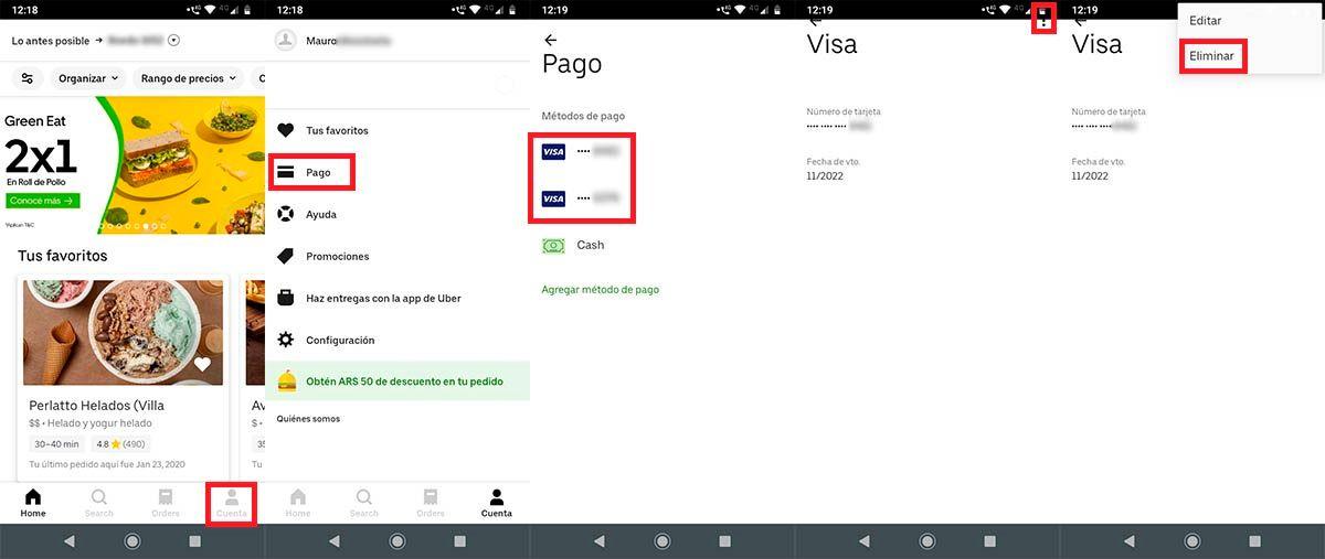 Eliminar tarjeta de credito debito Uber Eats