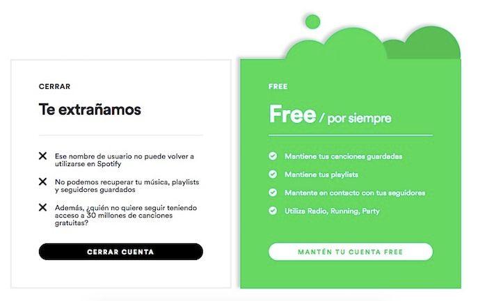 Eliminar una cuenta de Spotify