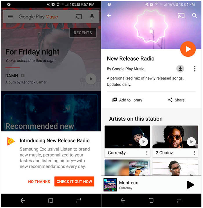 Emisora nueva galaxy s8 play music