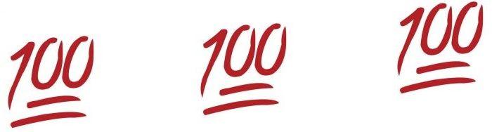 Emoji 100 en WhatsApp