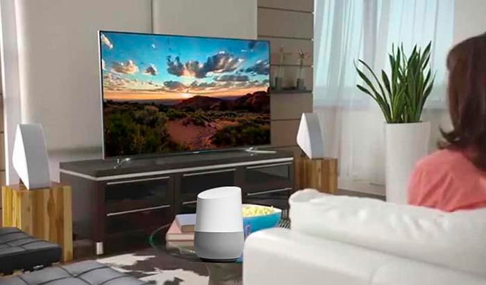 Enceder y apagar TV con altavoz inteligente Google Assistant