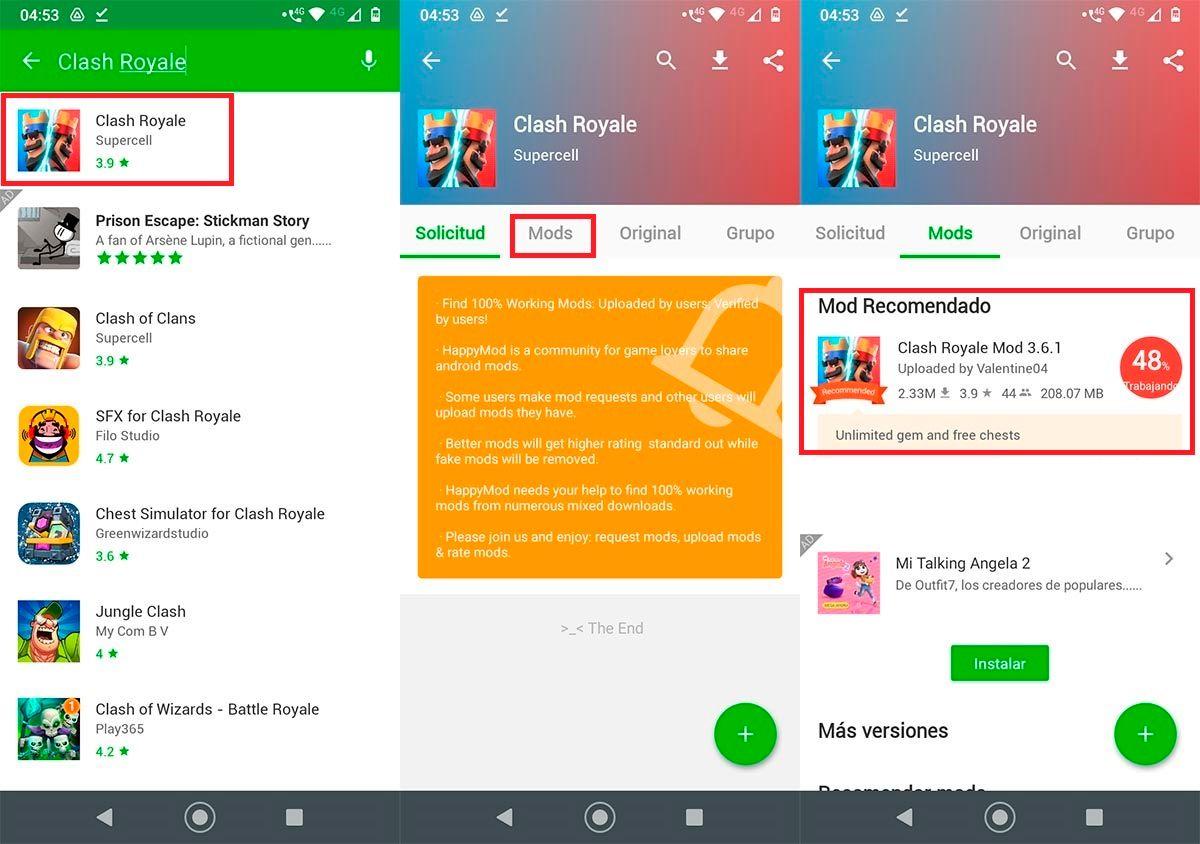Encontrar apps y juegos en HappyMod