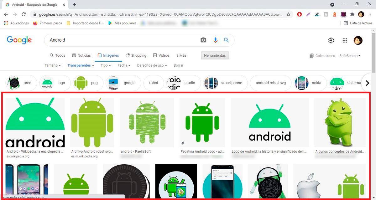 Encontrar imagenes sin fondo en Google desde el PC