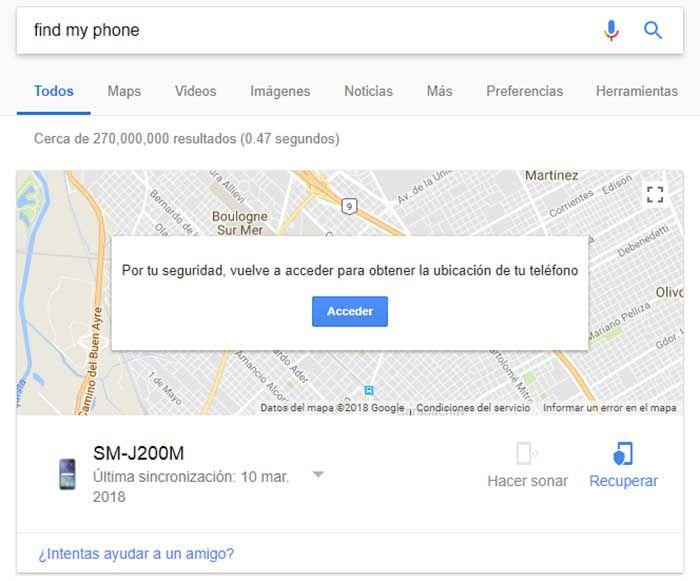 Encontrar mi telefono perdido