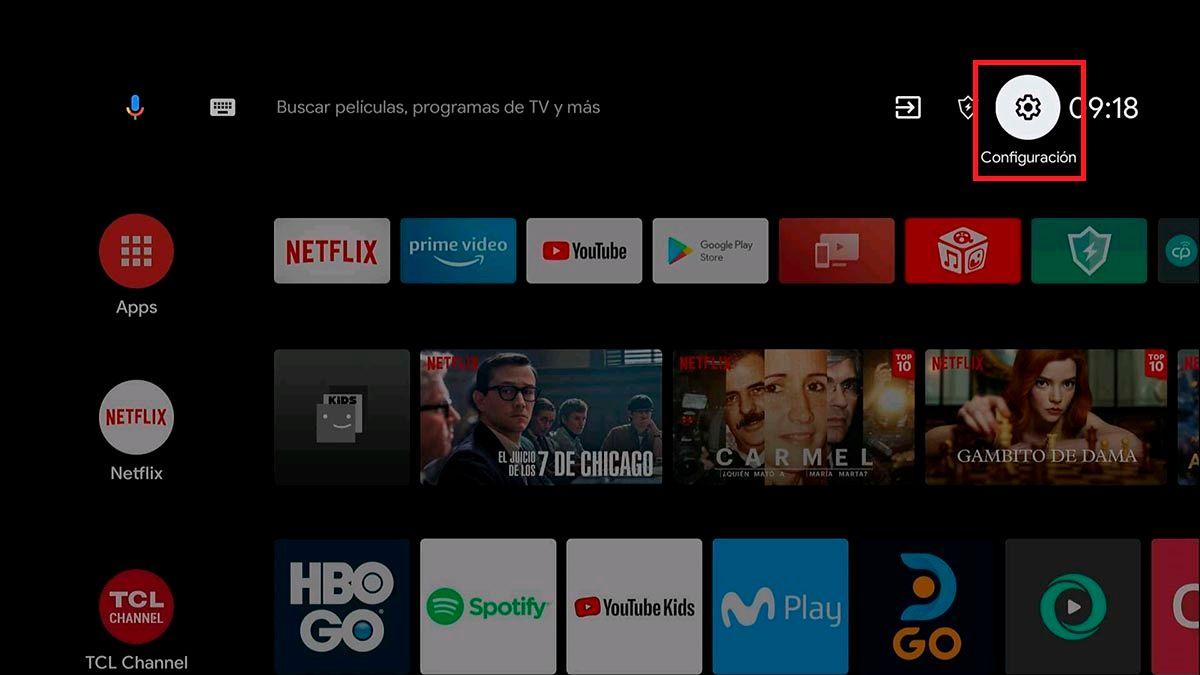 Entrar a la configuracion de Android™ TV