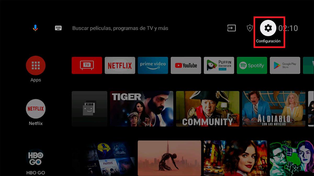 Entrar ajustes Android TV