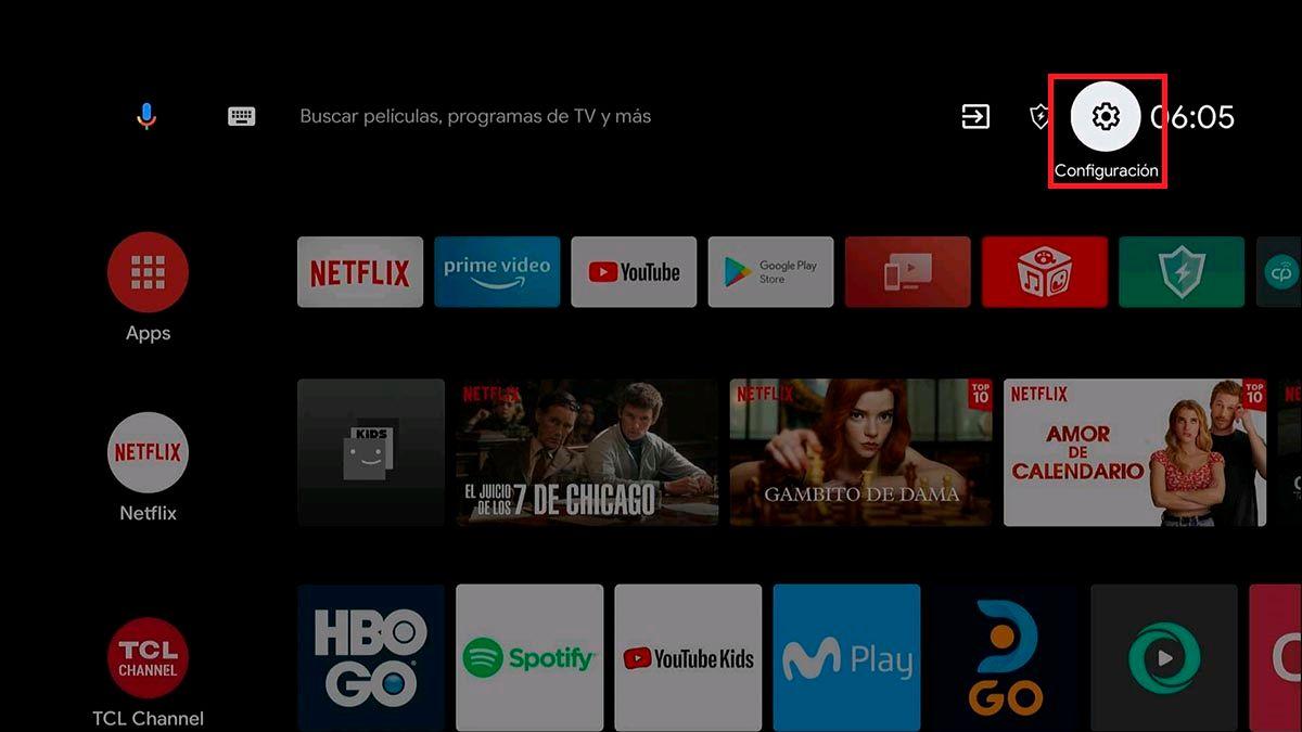 Entrar configuracion Android TV