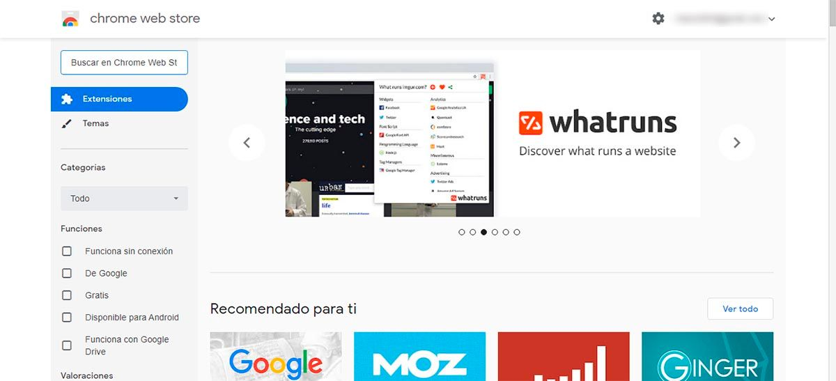 Entrar en Chrome web store