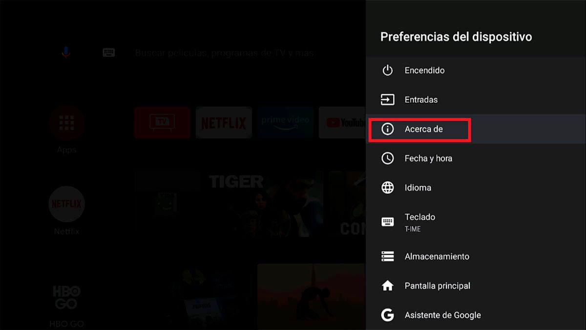 Entrar en las opciones Android TV