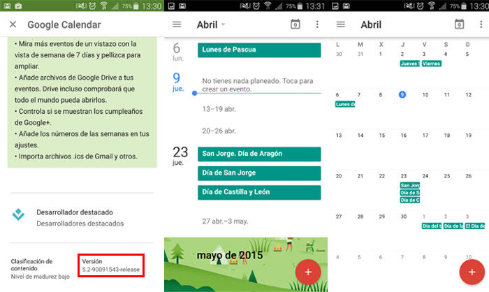Entrar en vista mensual de Google Calendar desde Android