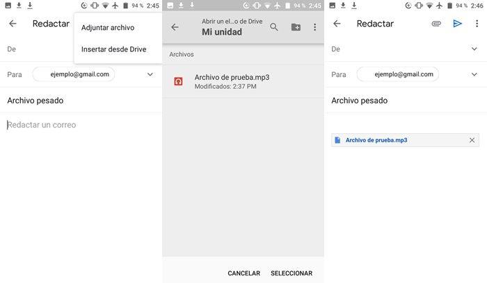 Enviando archivo pesado por Gmail en Android