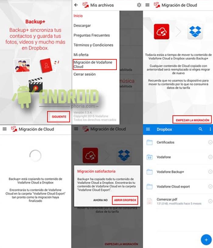 Enviar archivos de Vodafone Cloud a Backup Plus