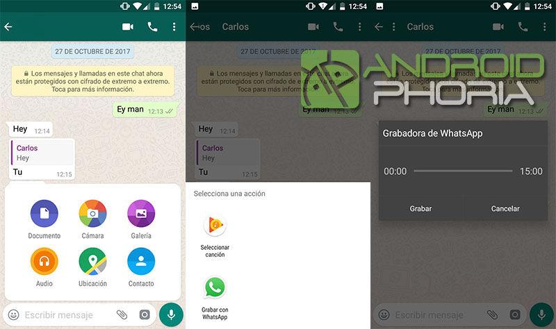 Enviar audios largos sin pulsar boton WhatsApp