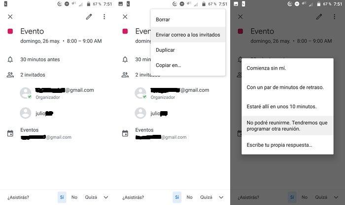 Enviar correos rapidos a los invitados de un evento en Google Calendario