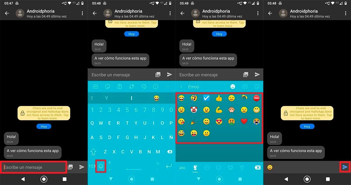 Enviar emojis en HalloApp