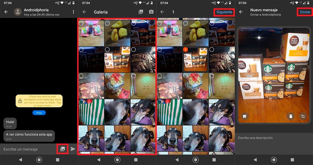 Enviar fotos y videos HalloApp