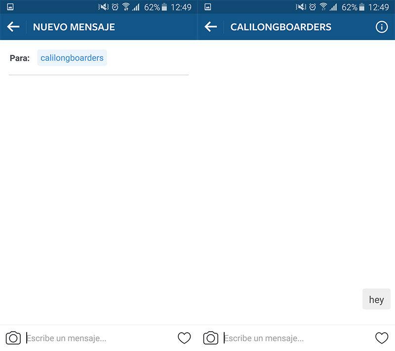 Enviar mensaje directo en Instagram