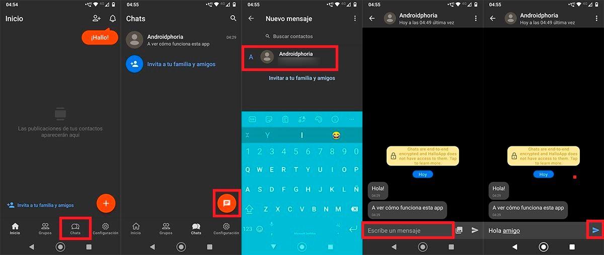 Enviar mensaje nuevo chat HalloApp