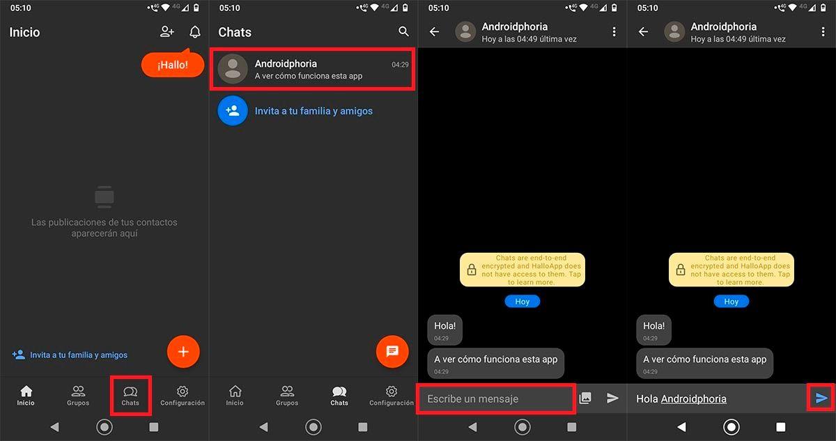 Enviar mensajes en conversaciones creadas HalloApp