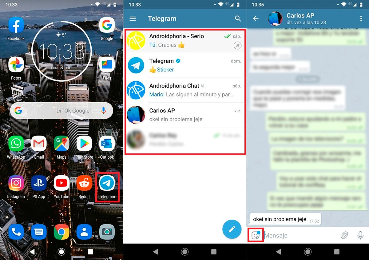 Enviar stickers animados Telegram paso 1