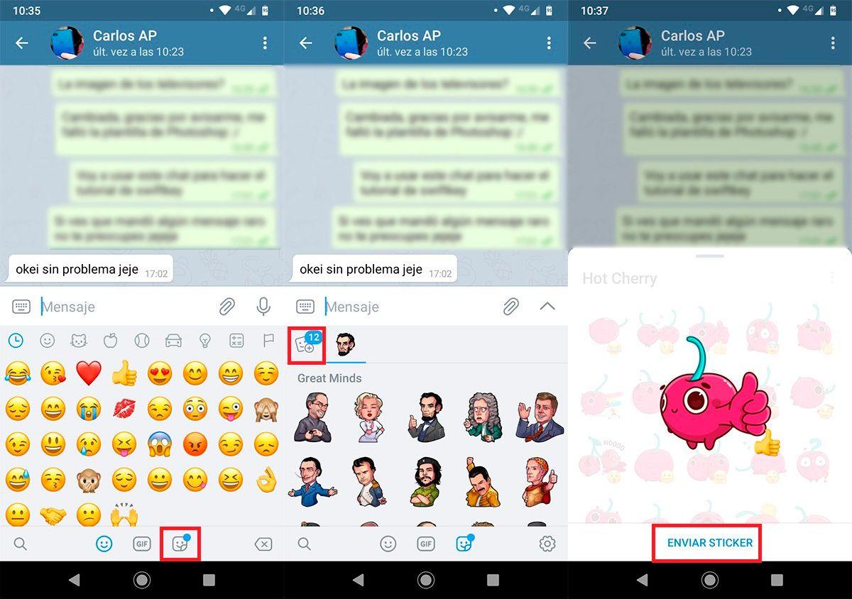 Enviar stickers animados Telegram paso 2