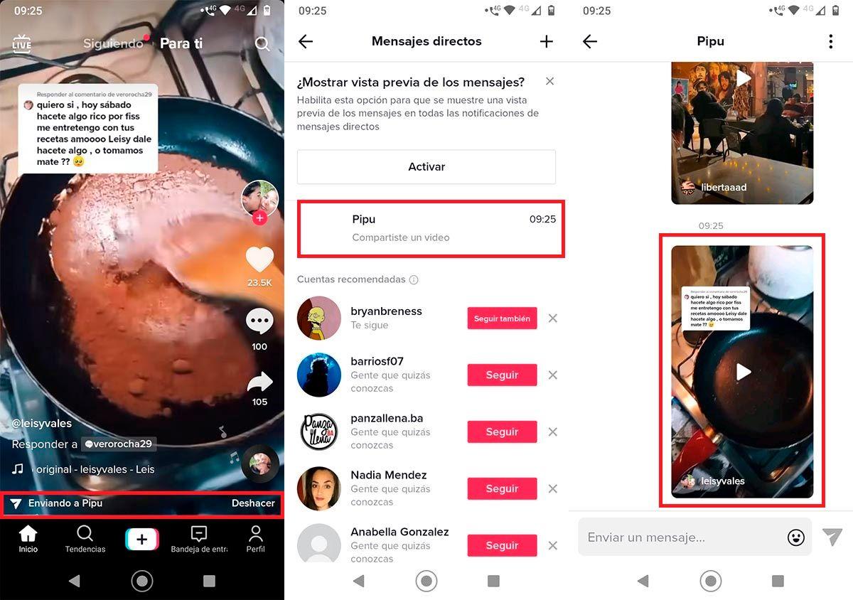 Enviar video a otra persona en TikTok