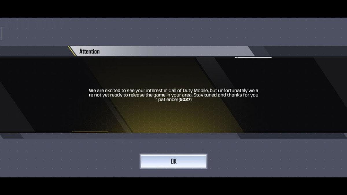 Error 5027 Call of Duty Mobile